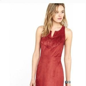 Express Red Faux Suede Dress
